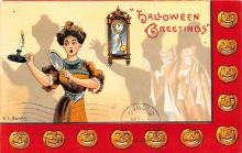 hol012241 - Halloween Post Card Old Vintage Antique