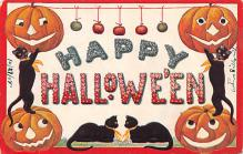 hol012291 - Halloween Post Card Old Vintage Antique