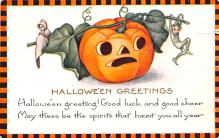 hol012309 - Halloween Post Card Old Vintage Antique
