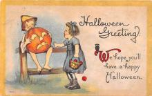 hol012389 - Halloween Post Card Old Vintage Antique