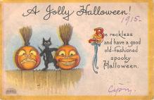 hol012393 - Halloween Post Card Old Vintage Antique