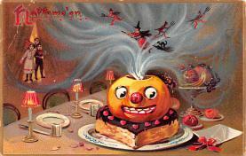 hol012431 - Halloween Post Card Old Vintage Antique