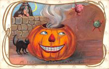hol012439 - Halloween Post Card Old Vintage Antique