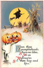 hol012499 - Halloween Post Card Old Vintage Antique