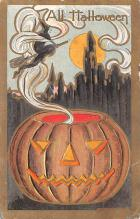 hol012519 - Halloween Post Card Old Vintage Antique