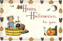 hol012547 - Halloween Post Card Old Vintage Antique