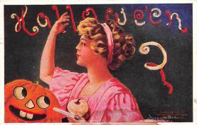 hol012565 - Halloween Post Card Old Vintage Antique
