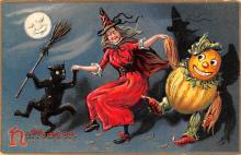 hol012619 - Halloween Post Card Old Vintage Antique