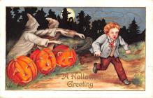 hol012621 - Halloween Post Card Old Vintage Antique