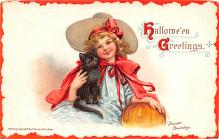 hol012677 - Halloween Post Card Old Vintage Antique