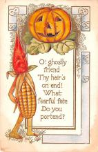 hol012717 - Halloween Post Card Old Vintage Antique