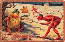 hol012733 - Halloween Post Card Old Vintage Antique