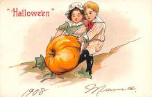 hol012783 - Halloween Post Card Old Vintage Antique