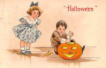 hol012785 - Halloween Post Card Old Vintage Antique