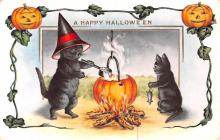 hol012797 - Halloween Post Card Old Vintage Antique