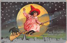 hol012855 - Halloween Post Card Old Vintage Antique