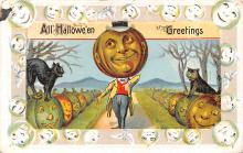 hol012891 - Halloween Post Card Old Vintage Antique