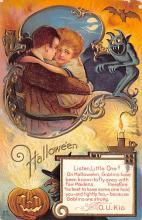 hol012899 - Halloween Post Card Old Vintage Antique