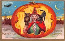 hol012923 - Halloween Post Card Old Vintage Antique