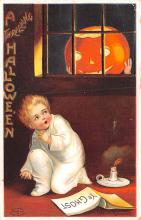 hol012959 - Halloween Post Card Old Vintage Antique