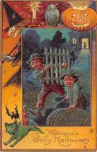 hol014009 - Halloween Post Card Old Vintage Antique