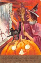 hol014019 - Halloween Post Card Old Vintage Antique