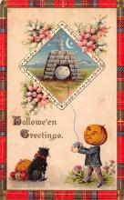 hol014023 - Halloween Post Card Old Vintage Antique