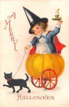 hol014059 - Halloween Post Card Old Vintage Antique