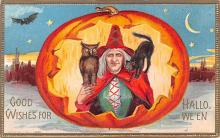 hol014061 - Halloween Post Card Old Vintage Antique