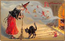 hol014065 - Halloween Post Card Old Vintage Antique