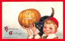 hol014069 - Halloween Post Card Old Vintage Antique