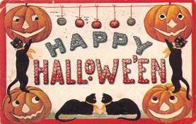 hol014075 - Halloween Post Card Old Vintage Antique
