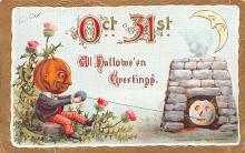 hol014085 - Halloween Post Card Old Vintage Antique