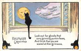 hol014109 - Halloween Post Card Old Vintage Antique