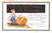 hol014111 - Halloween Post Card Old Vintage Antique