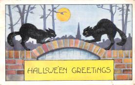 hol014115 - Halloween Post Card Old Vintage Antique