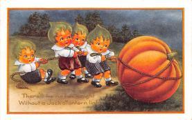 hol014119 - Halloween Post Card Old Vintage Antique