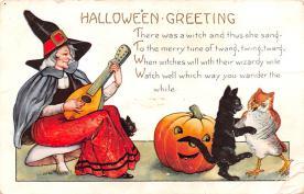 hol014121 - Halloween Post Card Old Vintage Antique