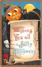 hol014143 - Halloween Post Card Old Vintage Antique