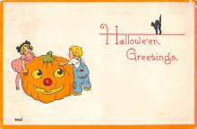 hol014189 - Halloween Post Card Old Vintage Antique