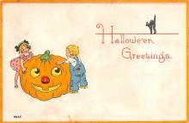 hol014207 - Halloween Post Card Old Vintage Antique
