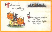 hol014209 - Halloween Post Card Old Vintage Antique