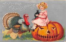 hol014211 - Halloween Post Card Old Vintage Antique