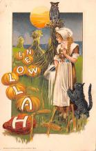 hol014217 - Halloween Post Card Old Vintage Antique