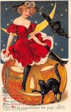 hol014219 - Halloween Post Card Old Vintage Antique