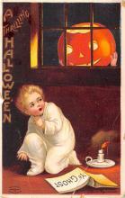 hol014235 - Halloween Post Card Old Vintage Antique