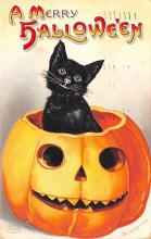 hol014247 - Halloween Post Card Old Vintage Antique