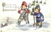 hol015120 - Merry Christmas Old Vintage Antique Postcard Post cards