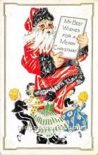 hol016073 - Santa Claus Postcard Old Vintage Christmas Post Card