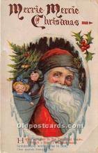 hol016090 - Santa Claus Postcard Old Vintage Christmas Post Card